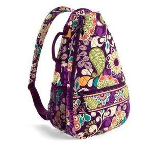 Vera Bradley plum crazy sling tennis backpack VGUC